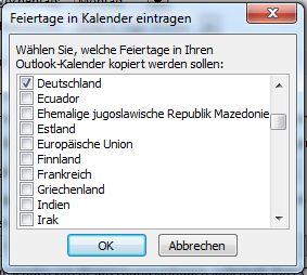Deutsche Feiertage in Kalender eintragen